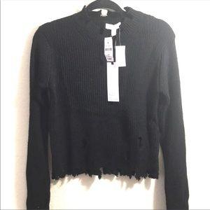 NWT🎈LF distressed black sweater